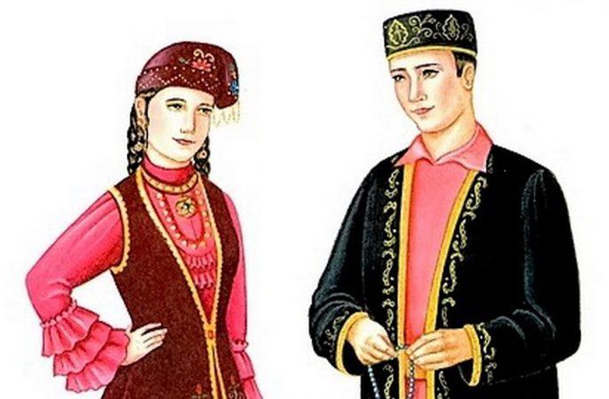 татарский национальный костюм мужской и женский картинки